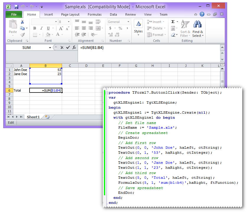 Creating Excel spreadsheets (XLS) in Delphi and C++Builder