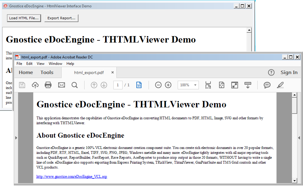 how to export html content to pdf format in delphi