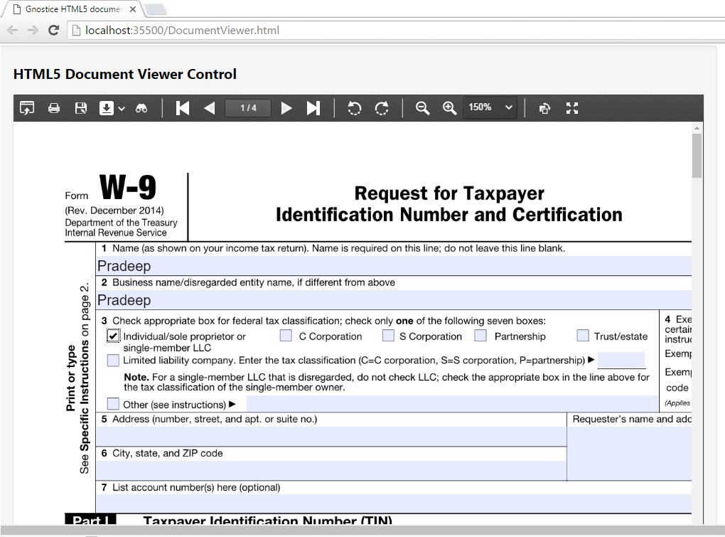 Interactive form-filling using XtremeDocumentStudio .NET's HTML5 ...