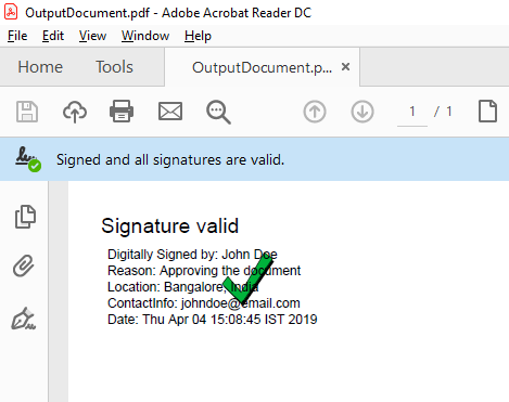 How To Digitally Sign A PDF Document Using USB token In Java