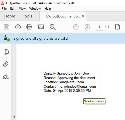 How To Digitally Sign A PDF Document Using a certificate in