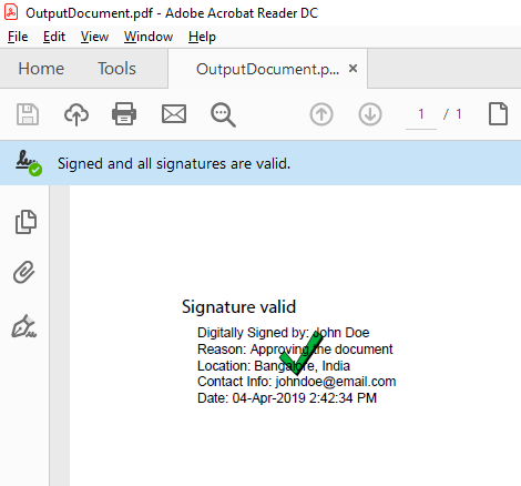How To Digitally Sign A PDF Document Using a certificate in the