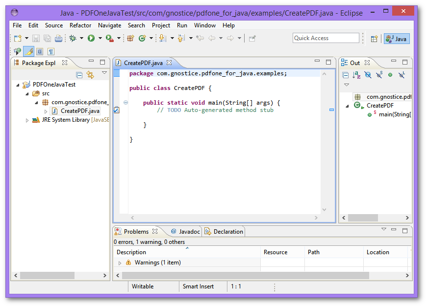 Using PDFOne Java in an Eclipse Project