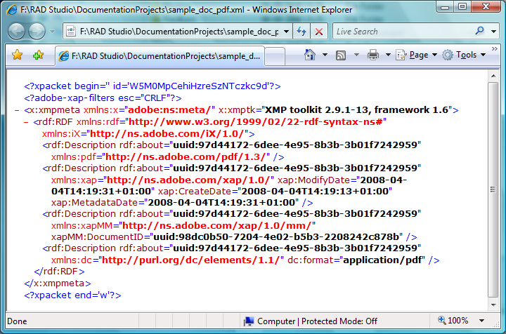Screenshot of XML meta data extracted from a PDF document