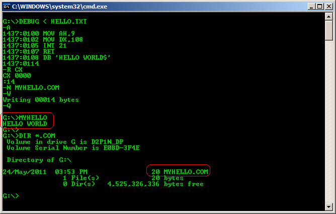 Command prompt window showing the creation and execution of the 20-byte hello world program