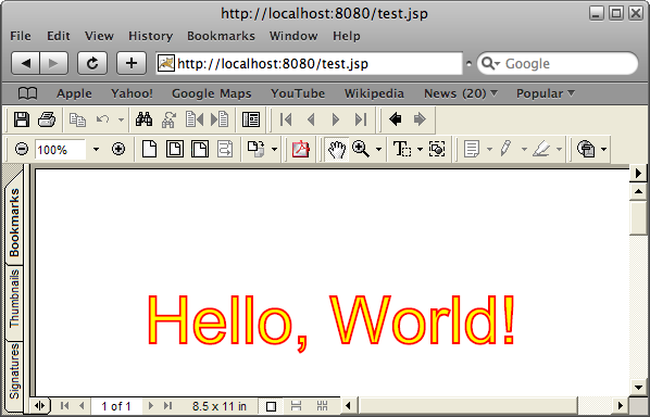 Create PDF Documents In A JSP Page