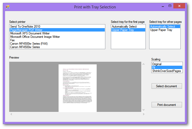 Print select pages of DOCX, DOC or PDF file to a specific